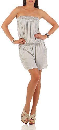 malito Damen Einteiler einfarbig   kurzer Overall schulterfrei   schlichter Jumpsuit