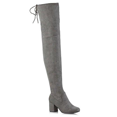 Essex Glam Bottes Cuissardes Décontractées Femmes Dames Au-dessus Du Genou Élégantes Chaussures D'hiver Gris Faux Daim