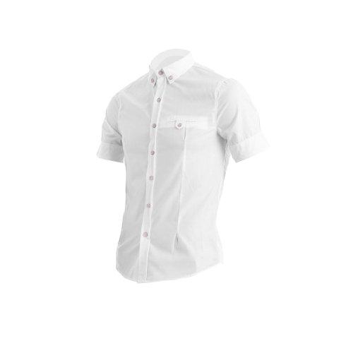 Man Brusttasche Dekor Plaids Geknöpft Manschette Stylisches Hemd Weiß