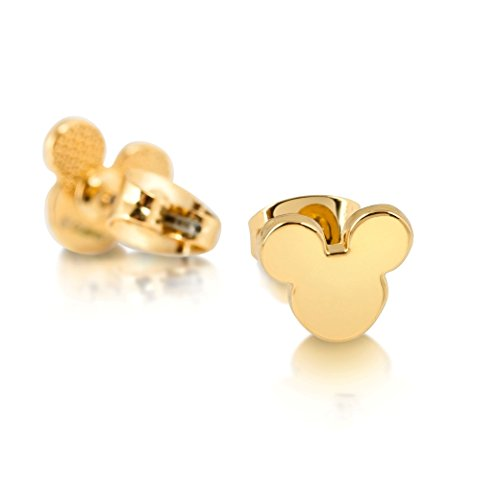 Pendientes bañados a oro, con diseño de la cabeza de ratón Mickey Mouse, de Disney Couture