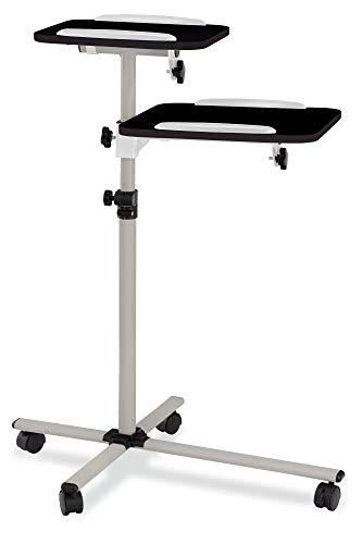 Pronomic PT-6 MKII Beamer- und Projektorwagen Beamertisch Rollwagen Medienwagen für Video-, Dia-, Overhead-Projektoren, Laptoptisch, Notebooktisch (höhenverstellbar, Ablageflächen, neigbar) schwarz -