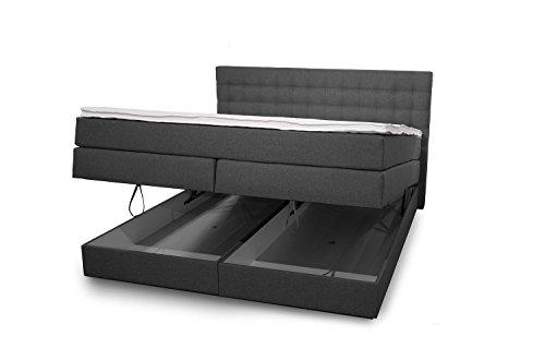 King Boxspringbett 160x200 cm mit Bettkasten und Luxus 7-Zonen Taschenfederkernmatratze Visco-Topper H3 Anthrazit Hotelbett Doppelbett Polsterbett von Betten Jumbo