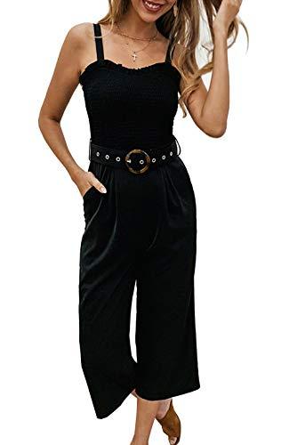 Udgwaz Damen Sommer Bequemer lang einfarbig Overall mit Ärmellos hoher Leibhöhe weitem Bein ist eleganter Schwarz Jumpsuit für Damen (X-Large, Schwarz)