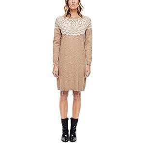 s.Oliver Damen Strickkleid mit Norweger-Muster camel melange knit 40