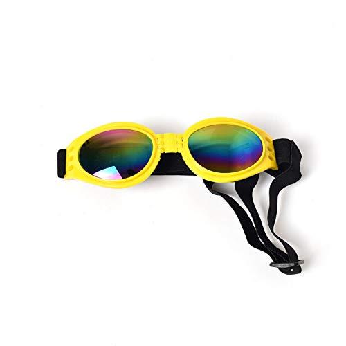 LIMUZHI Faltbare Haustier-Sonnenbrille Hundebrille Sonnenschutz Winddichte Sonnenbrille-Yellow