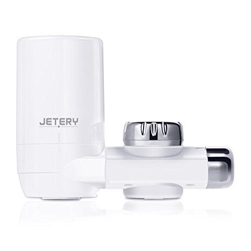 Filtro de agua para el grifo JETERY - Sistema de filtración de agua para el grifo, de larga duración, 1200 litros de agua filtrada. Con filtro de fibra de carbón activo. Para utilización en baño, cocina adaptándose a los grifos estándar