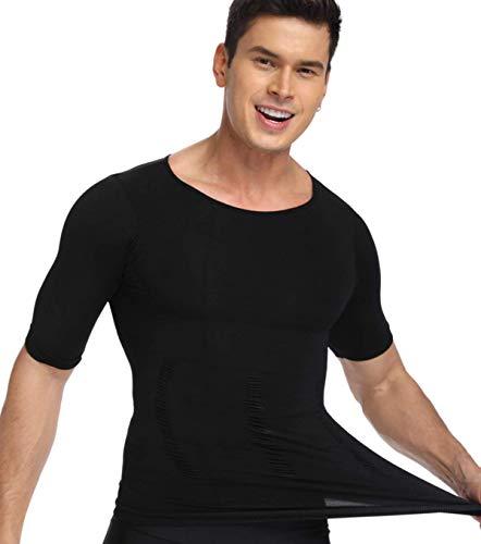 erhemd Slimming Kompression Shirt Figurformende Bauch Weg Body Shaper 2X Streckung Körperformer Shapewear Miederbody Tank Top mit Ärmeln ()