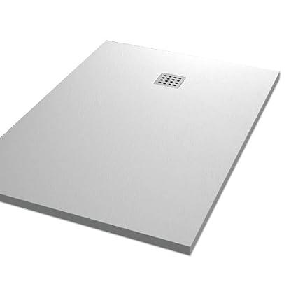 "Plato ducha resina tipo pizarra ""Slate"". 90x120cm. Blanco Ral. 9003"