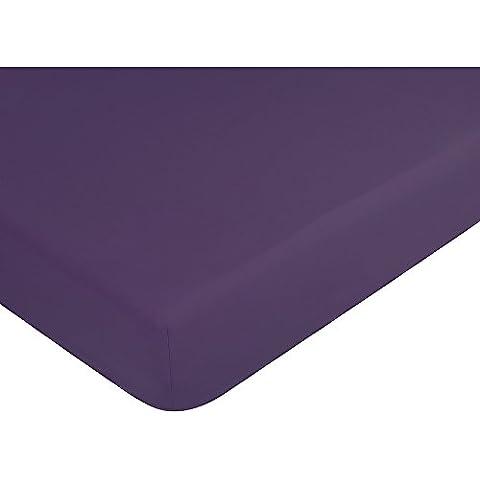 Sábana bajera Palace Pur algodón Teint lavada 63hilos/cm²/gorro 30cm, ciruela, 160 x 200 cm bonnet 30