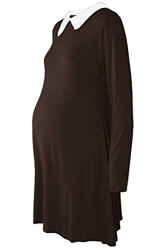 Janisramone Femmes de Dames Nouveau Plaine Peter Pan Contraste Col Maternité Patineur Évasé Balançoire Mini Robe Chocolat brun