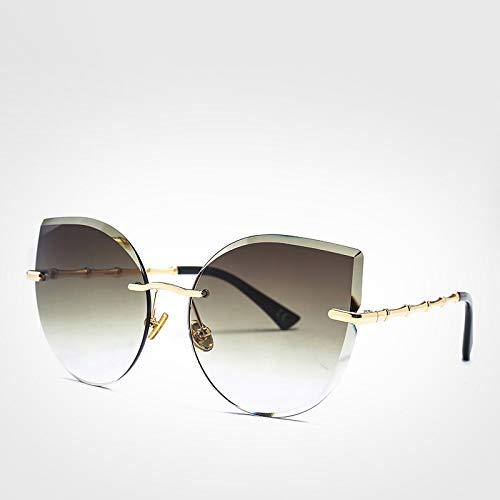 LXXSSRA Sonnenbrille Coole Damen Sonnenbrille Cat Eye Fashion Driver Brille Mädchen Rosa Randlose Sonnenbrille Damen Uv400 Lila Sonnenbrille