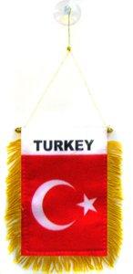 AZ FLAG Fanion Turquie 15x10cm - Mini Drapeau Turc 10 x 15 cm spécial Voiture - Bannière
