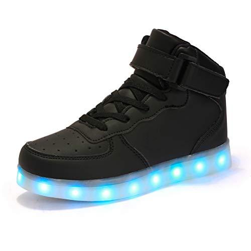 Dannto Kinder Leuchtende Blinkschuhe Turnschuhe Farbe USB Aufladen LED Licht Kinderschuhe Sportschuhe Hoch Oben Lässige Mode Sneakers für Jungen Mädchen(Schwarz-C,36)