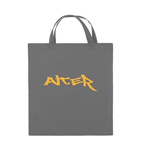 Comedy Bags - ALTER - GRAFFITI - Jutebeutel - kurze Henkel - 38x42cm - Farbe: Schwarz / Silber Dunkelgrau / Gelb