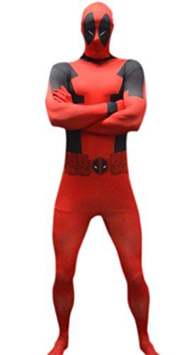 erdbeerloft–Uomo Marvel Deadpool, Comic, Cosplay, Costume, XS–L, rosso Rot L