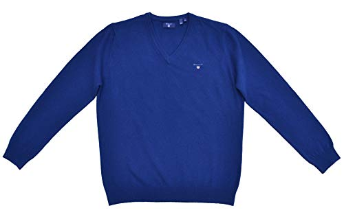 Lambswool-pullover (GANT Pullover V-Neck Lambswool Wolle Blau / 436 Yale Blue Größe XL)