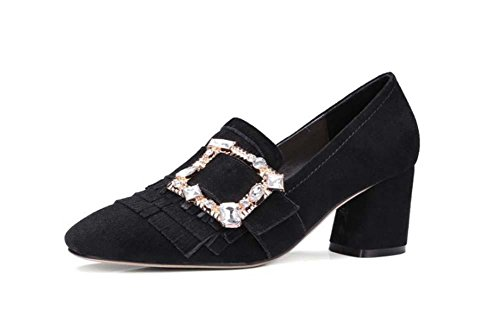 NobS Chaussures Dames Chaussures Chunky Heel Talon Carré Diamant Talon Moyen Mary Janes Chaussures Femmes Black