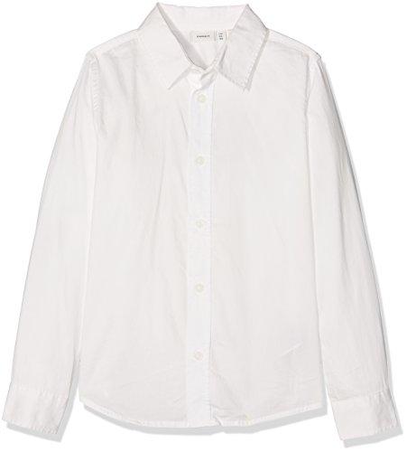 NAME IT Jungen Hemd Nitpaks LS Slim Shirt Nmt, Weiß (Snow White), 134/140