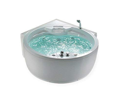 Whirlpool Badewanne Florenz mit 14 Massage Düsen + Heizung + Ozon Desinfektion + Beleuchtung / Licht + Wasserfall + Radio – Eckwanne Sprudelbad