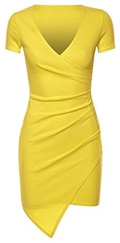Mesdames Asymmetric Wrap Plus Drapé Mini Robe moulante EUR Taille 36-42 (EUR 36 (UK 8), Vert citron)
