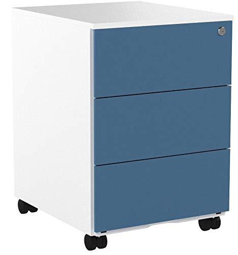 SONGMICS Rollcontainer, mobiler Aktenschrank, abschließbar, mit 3 Schubladen, Aufbewahrung von Akten, Büroutensilien, vormontiert, Büro, Home Office, 39 x 45 x 55 cm (L x B x H), weiß-blau OFC63WB