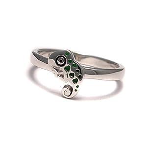 Chamäleon Kinder Ring, Kinderring 925 Sterling Silber, Mädchen Schmuck bunt, Jungs Tier Silberring nickelfrei
