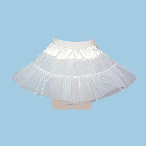 PARTY DISCOUNT Petticoat knielang, Kinder, 2 lagig, weiß, Gr. 152