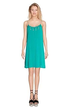 Cherry Paris©-Tunique vestito donna chic CARIOCA fluido per intero in perle e apertura sulla schiena, con lacci, con pompon, collezione donna stata 2016-Summer x Beachwear verde Small