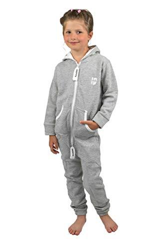 Gennadi Hoppe Kinder Jumpsuit Overall Jogger Trainingsanzug Mädchen Anzug Jungen Onesie,hell grau,7-8 Jahre - Jungen Sweat Anzüge