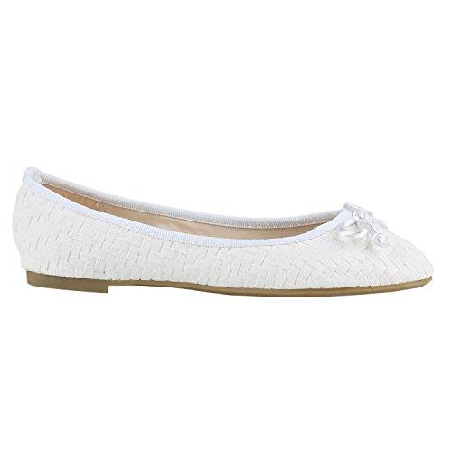 Klassische Damen Ballerinas | Flats Slipper Flache Schuhe | Übergrößen | Spitze Metallic Glitzer Weiss Weiss