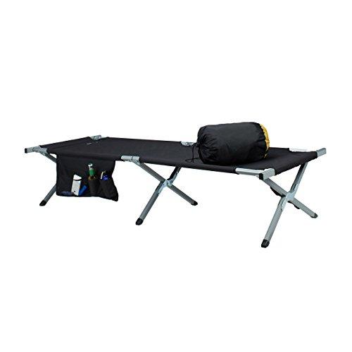 Spannung Feld (Relaxdays Feldbett, nachstellbar, ausklappbar, Aluminium, Seitentasche, Camping, HxBxT: 42 x 63 x 190 cm, schwarz-silber)