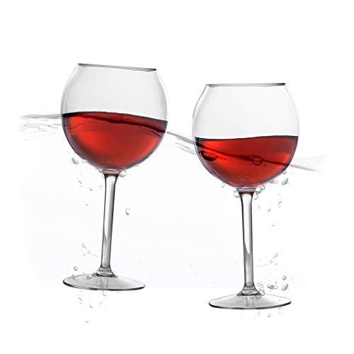Schwimmende Weingläser für den Pool (18 Oz, 2er-Set) - klare Tritan-Kunststoff-Gläser - Stiel Pool-Weingläser - Schwimmbecher - Outdoor Trinken Strand Glas (Weingläser Strand)