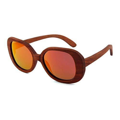 MWPO Sonnenbrille Polarisierte Große Runde Rahmen Retro Bambus Holz Outdoor Reise Fahren Sonnenschutz Schutzbrille (Farbe: Rote Linse)