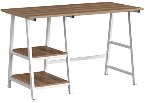 soges Schreibtisch 120×60cm Computertisch Büromöbel PC Tisch Bürotisch Arbeitstisch aus Holz und Stahl, mit 2 Ablagen, Eiche Tplus-OK