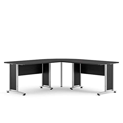 Schreibtisch Prisme Bürotisch Computer PC Tisch Arbeitstisch schwarz Esche Dekor -