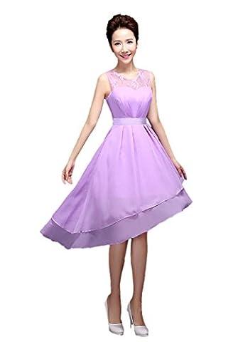 Honeystore Damen's A-Linie/Princess-Linie U-Ausschnitt Asymmetrisch Chiffon Brautjungfernkleid Abendkleid mit Rüschen Violett (Kostüm Farbige Kontakte Günstige)