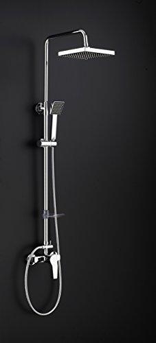 DP Grifería RY-S002+M001 EX - Set de ducha extensible con grifo monomando incluido, color plateado