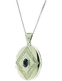"""TOC Sterling Silver Genuine Blue Topaz Set Engraved Oval Locket Necklace 18"""""""