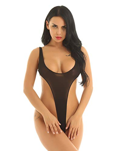 High-cut-tanga (iEFiEL Damen Einteiliger Badeanzug Push up String Tanga Bikini Monokini Schwimmanzug Frauen Body High Cut Bodysuit Stringbody Overalls Schwarz Einheitsgröße)