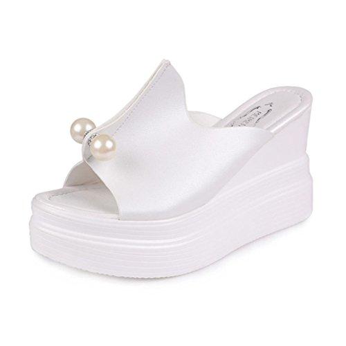 LiucheHD Sandali Donna Pantofole con Tacco Alto Slip-Flop Sandali con Zeppa Estivi Boemo Scarpe da Spiaggia All'Aperto (Nero, Asia 36)