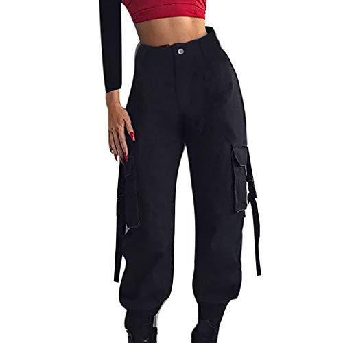 Yazidan Frauen hohe Taille lässig Harem Hosen Lange Hosen Streamer Schultasche Schnalle Mode Hip Hop Tanzen Lässige Hosen Haremshosen Overall Jeans