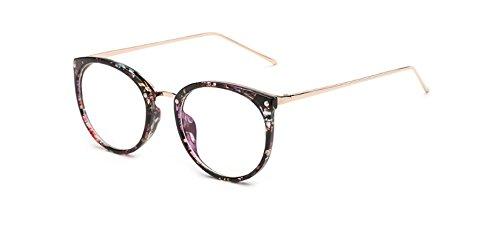 Hykis - Brillen Rould Augengl?Ser Frauen Designer Brillen Unisex Plain Brillen f¨¹r Frauen Rezept Rahmen f¨¹r M?nner Oculos De Grau [Blumen]
