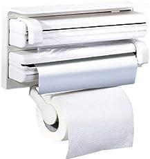 ShoppoZone Plastic Triple Paper Dispenser for Cling Film Wrap Aluminium Foil and Kitchen Roll, (White)
