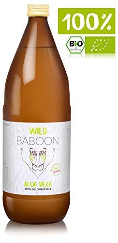 Wild Baboon Bio Aloe Vera Direktsaft, 1200 mg Aloverose, 1L Trinkgel