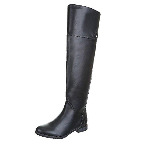 Damen Schuhe, H387, STIEFEL Schwarz