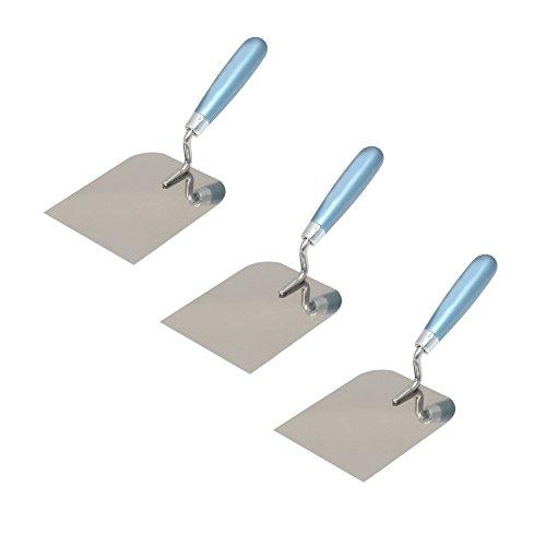 3er Set DEWEPRO® Gipserspachtel - Stuckateurspachtel - Spachtelkelle - mit Edelstahlblatt - Breite: 120mm - Stuckateurkelle - Putzerkelle - Putzkelle