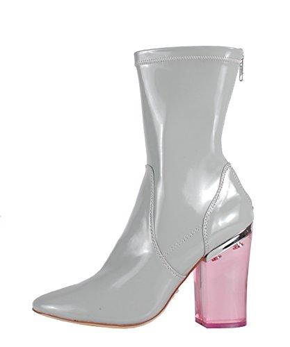 Windsor Smith Vinyl Grey Patent Boots - Stivaletti Grigi In Pelle Tacco Trasparente