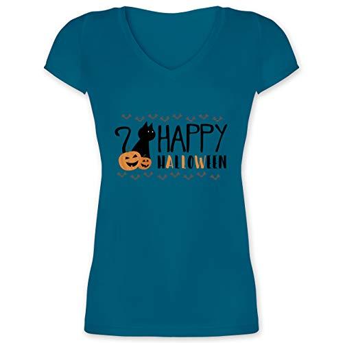 Halloween - Happy Halloween - L - Türkis - XO1525 - Damen T-Shirt mit V-Ausschnitt (Halloween 2019 Happy My)