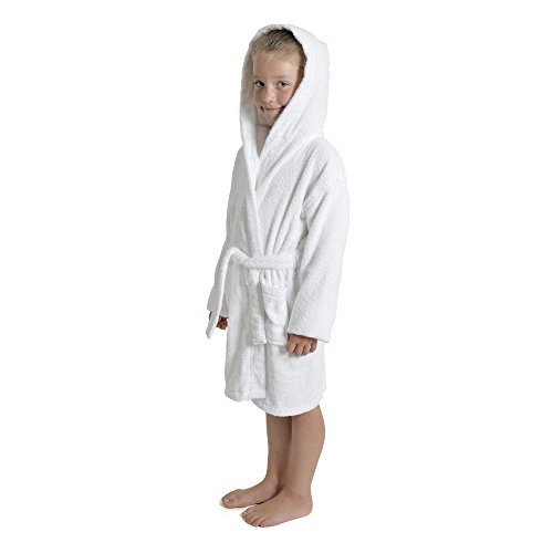 CityComfort Children Dressing Gown Kids Boys Girls Hooded Towelling Bathrobe 100% Cotton Terry Towel Bath Robe Soft Towling Lounge Wear - Perfect Present Gift 7-13 Years (9-10, White)
