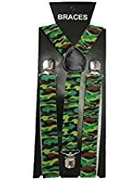 Green Camouflage Trouser Braces Suspenders - Occasional use